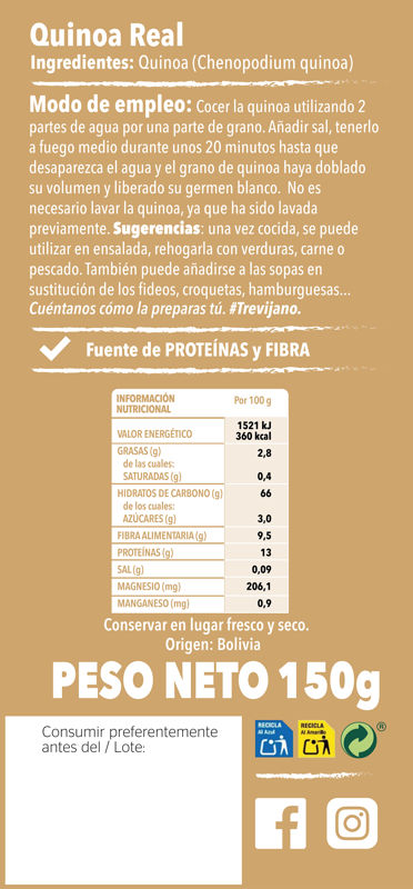 Quinoa Real150g Trasera