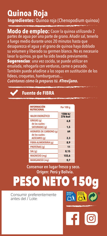 Quinoa Roja150g Trasera