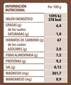 Quinoa Tricolor150g Info Nutri