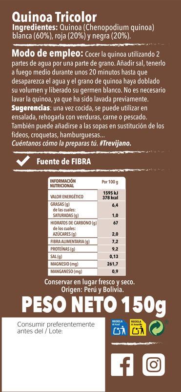 Quinoa Tricolor150g Trasera